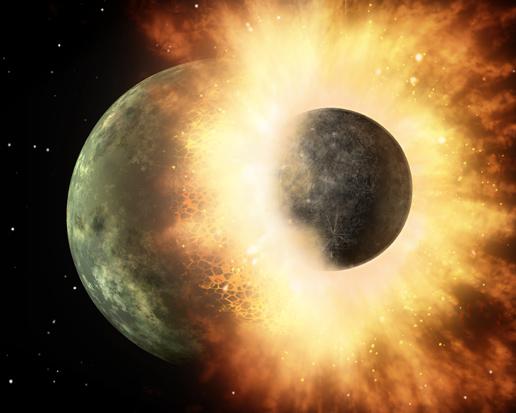 Concepção artística da colisão de protoplanetas Crédito: NASA/JPL