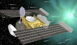 A sonda Stardust ('poeira das estrelas'), ilustrada pela NASA/JPL