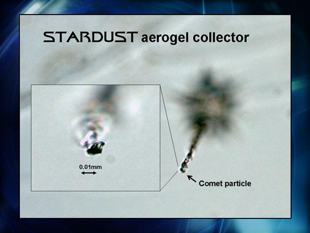 Partícula do cometa Wild 2 capturada no aerogel da grade de coleta da sonda Stardust