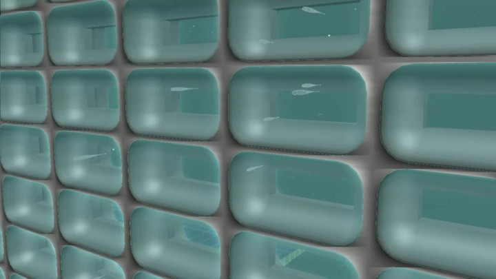 Concepção artística das partículas coletadas pelo aerogel na grade de coleta. As áreas esverdeadas representam o aerogel. Os choques com o material coletado são as manchas em verde-claro nas áreas em formato de gotas. As partículas são representadas por pontos na base das gotas. Crédito: NASA/JPL