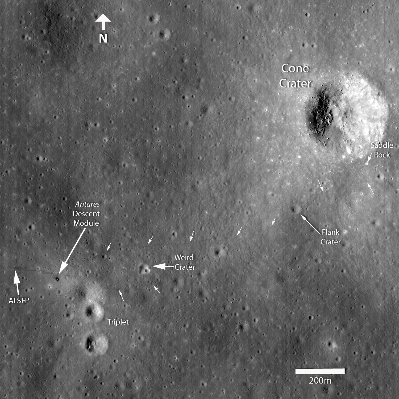 As marcas deixadas pelos astronautas até a cratera Cone mostra que eles chegaram até 30 metros de distância antes de desistir. Mistério resolvido!