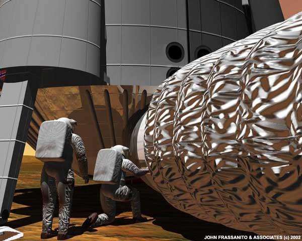 Os astronautas enchem o habitat com ar. Crédito: John Frassanto e associados