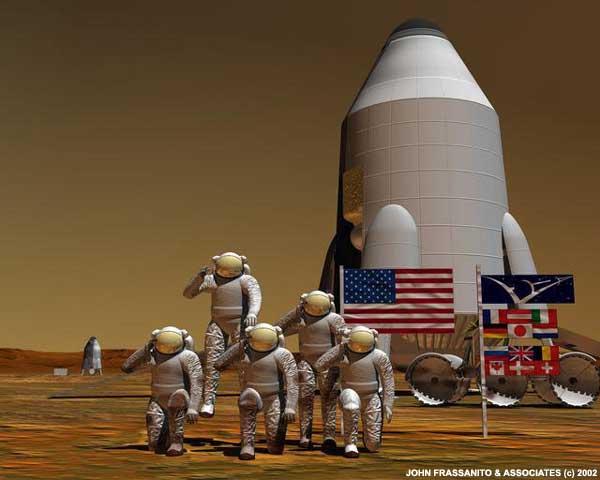 O time internacional de exploradores em Marte posam para uma foto. Crédito: John Frassanito e associados