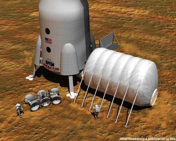 Uma base em Marte. Crédito: John Frassanito e associados