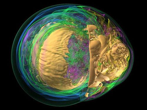 Esta visualização a partir do supercomputador Argonne nos mostra os mecanismos que regem a violenta morte de uma estrela de vida-curta, uma estrela massiva. Aqui vemos os valores energéticos no núcleo da supernova. Cores distintas e transparências correspondem a diferentes valores de entropia. Através da seleção ajustada da cor e transparência os cientistas podem navegar pelas camadas internas e visualizar o que estão ocorrendo no interior da explosão.