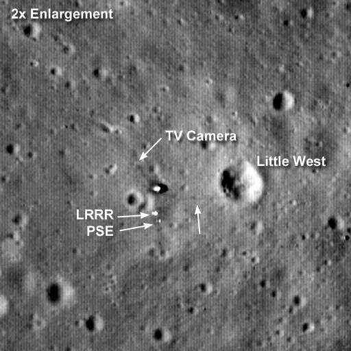 Imagem em zoom (2x) mostra a base no mar da Tranquilidade - Crédito: NASA/GSFC/Arizona State University.