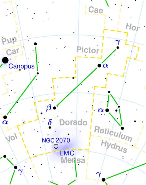Constelação do Peixe-Espada, veja onde fica a LMC (Grande Nuvem de Magalhães) e a NGC 2070 (Nebulosa da Tarântula)