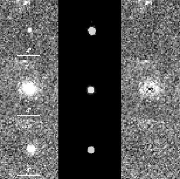 Através da subtração entre imagens feitas em distintas faixas de frequência os astronômos conseguem retirar o efeito do buraco negro e estudar a galáxia hospedeira.