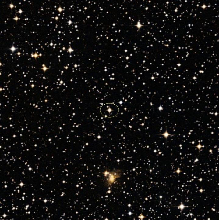 A estrela CoRoT 7 está no centro desta imagem fornecida para ESO (European Southern Observatory)
