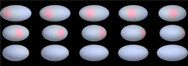 Mosaico mostra a mancha vermelha de Haumea observada ao longo do seu dia de 3,9 horas