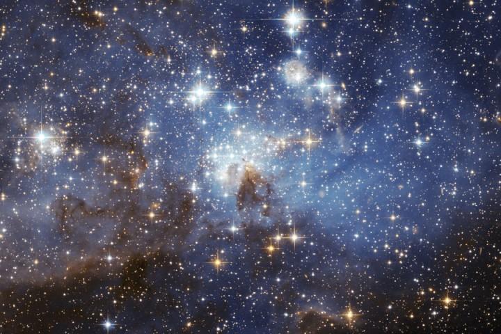 O berçário estelar LH95 da Grange Nuvem de Magalhães. Crédito: Hubble Space Telescope