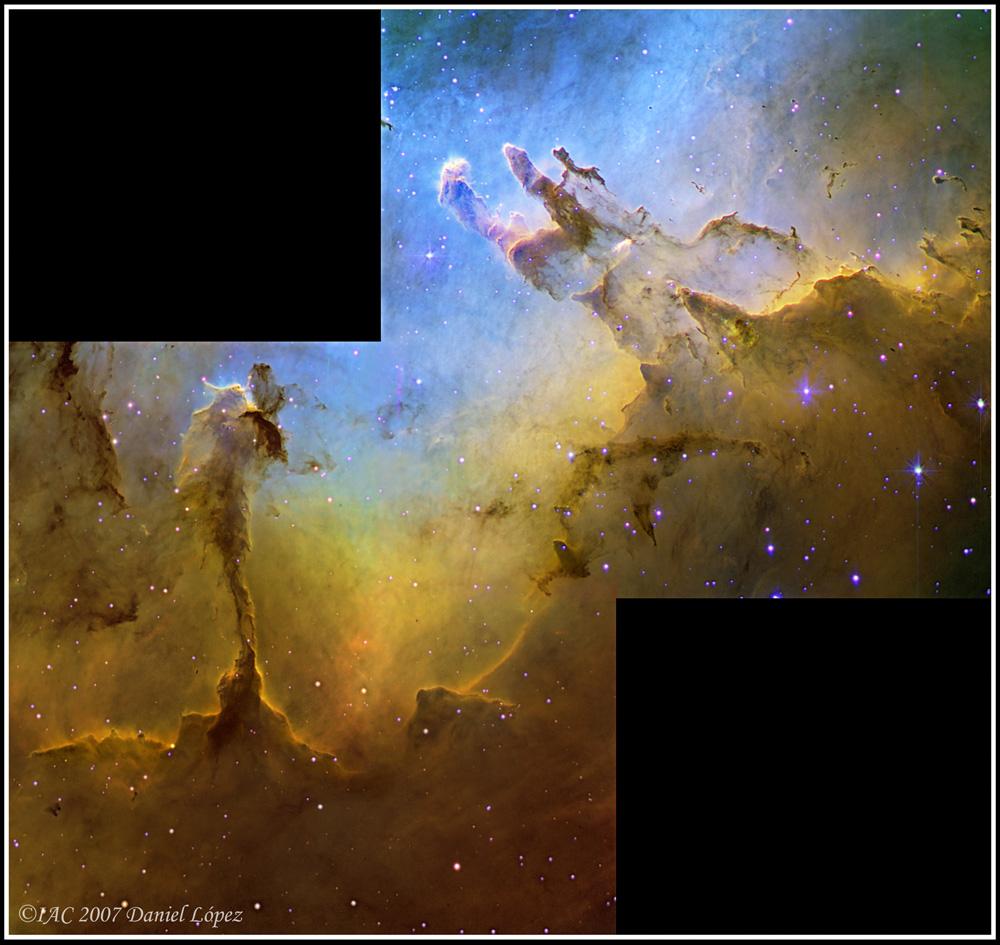 Visão da Nebulosa da Águia no espectro do hidrogênio, oxigênio e enxofre. Crédito: Daniel Lopez, IAC