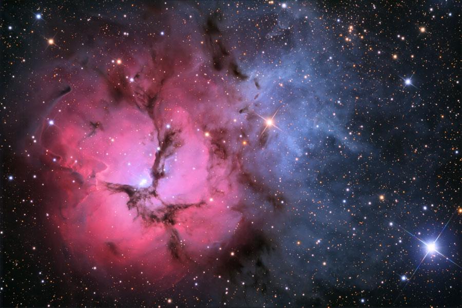 A nebulosa M20 (Trífida) sob a lente de Adam Block