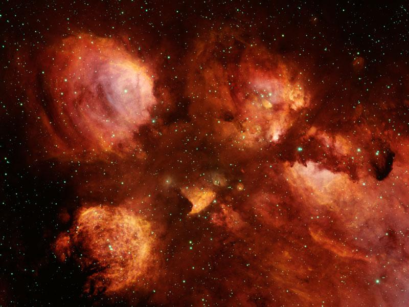 NGC 6334 - A nebulosa da 'Pata do Gato'. Crédito: T. A. Rector (Universidade do Alaska), T. Abbott, NOAO, AURA, NSF