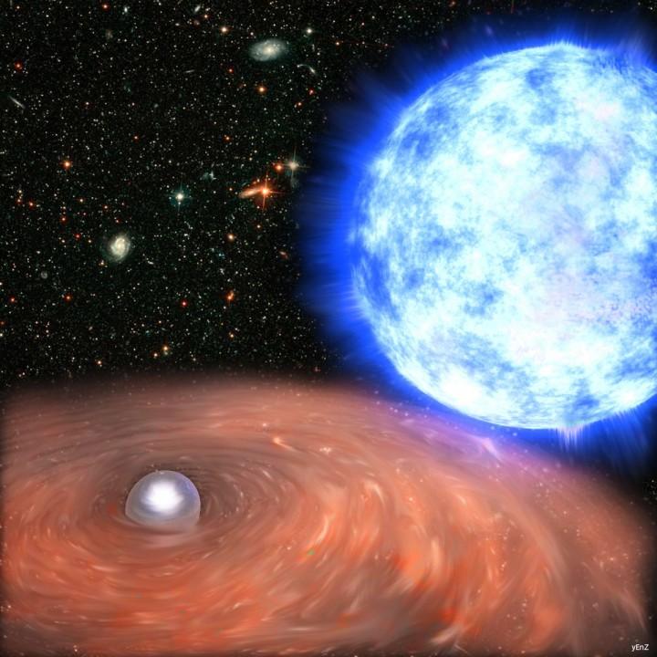 Ilustração da anã-branca massiva, seu disco de acresção e sua companheira gigante azul HD 49798. Créditos: imagem da frente: Francesco Mereghetti; imagem de fundo: NASA, ESA and T.M. Brown (STScI)