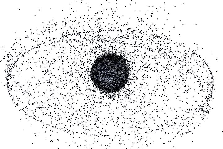 Lixo espacial na órbita alta + geoestacionária (NASA)