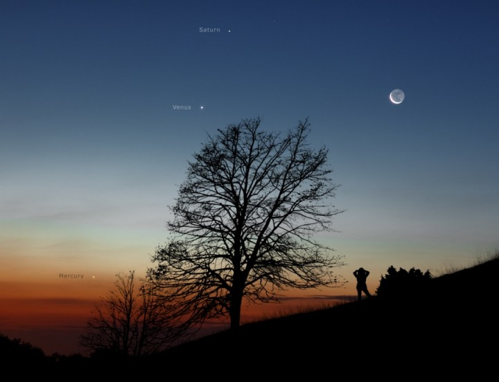 Vênus, Mercúrio, Saturno e a Lua nova em conjunção por Stejan Seip (TWAN)