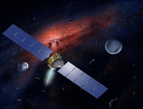 A missão Dawn que irá visitar Vesta e Ceres é impulsionada por motor iônico.