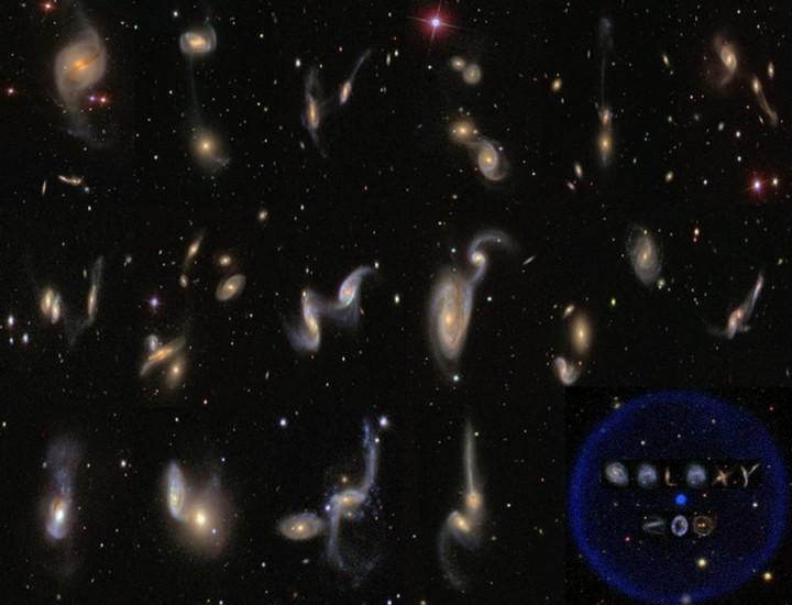 Este mosaico mostra fusões de diversas galáxias da pesquisa SDSS, catalogadas pelo projeto Galaxy Zoo. Crédito© das imagens: SDSS, Galaxy Zoo; Mosaico criado por Richard Nowell & Hannah Hutchins