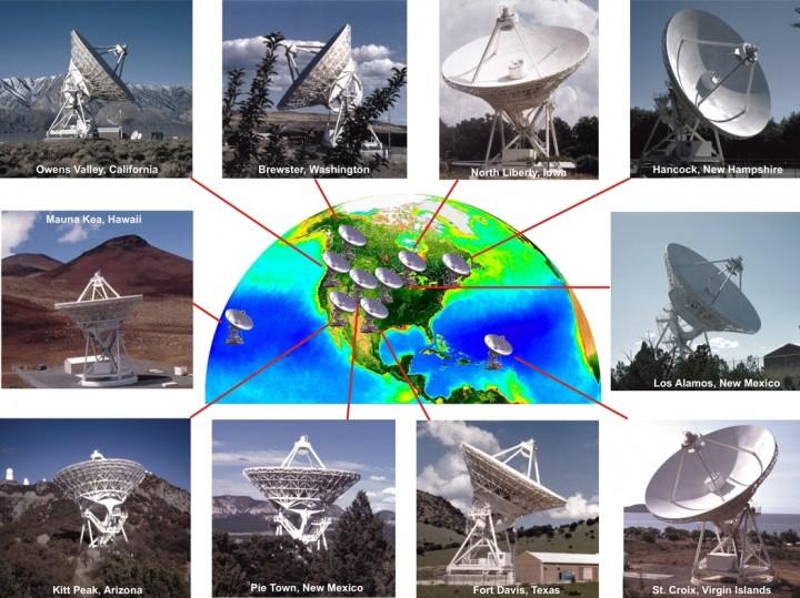 O Very Long Baseline Array (VLBA) é um sistema composto de 10 radiotelescópios, cada um com um prato de 25 metros de diâmetro e peso de 240 toneladas. Deste Mauna Kea na grande ilha do Havaí até Santa Cruz nas Ilhas Virgens o VLBA se espalha em dimensões continentais por mais de 8.000 quilômetros. O sistema VLBA fornece aos astrônomos uma visão mais precisa que qualquer sistema de telescópios terrestres ou orbitais. Operante desde 1993 o VLBA tem uma capacidade de 'ver' detalhes tão apurados do Universo comparáveis a uma pessoa em Nova Yorque conseguir 'ler' um jornal em Los Angeles. NRAO/AUI, SeaWiFS Project, NASA/GSFC e ORBIMAGE