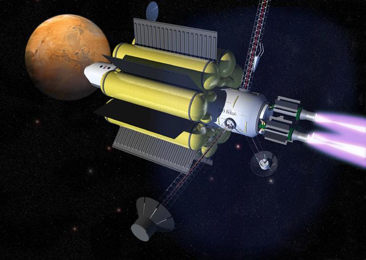 Espaconave segue viagem para Marte impulsionada pelo motor iônico VASIMR. Crédito: Ad Astra Company