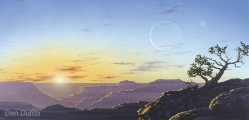 Uma exolua habitável iria nos oferecer esta visão exótica, uma vista excepcional que pode até ser bem mais comum na galáxia que antes pensávamos. Crédito: Dan Durda
