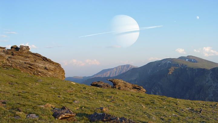 Exolua habitável orbita um exoplaneta similar a Saturno. Crédito: Dan Durda