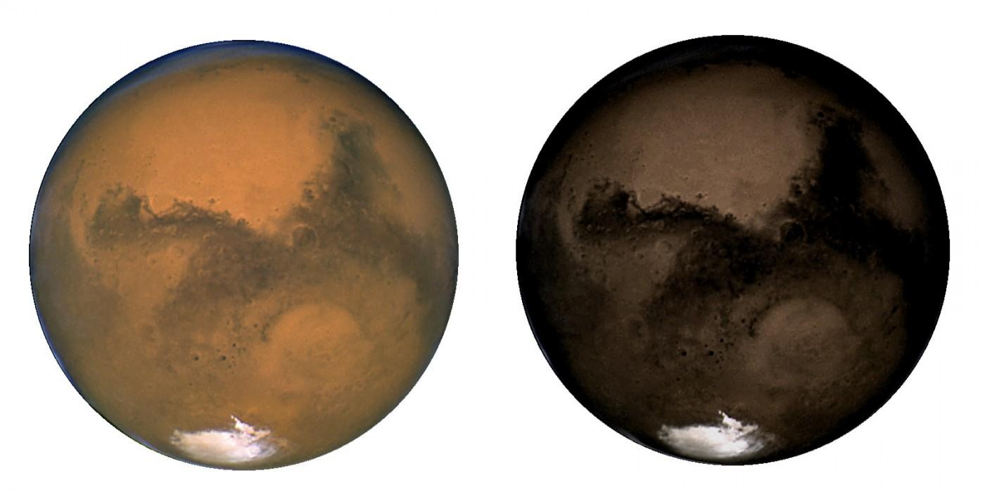 Marte deveria ter uma cor escurecida como na imagem à direita se não fosse pela poeira avermelhada que cobre sua superfície. Crédito: NASA/ESA/Hubble Team/Europlanet
