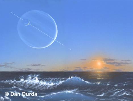 O 'por-do-sol' em uma exolua oceânica. Crédito: Dan Durda