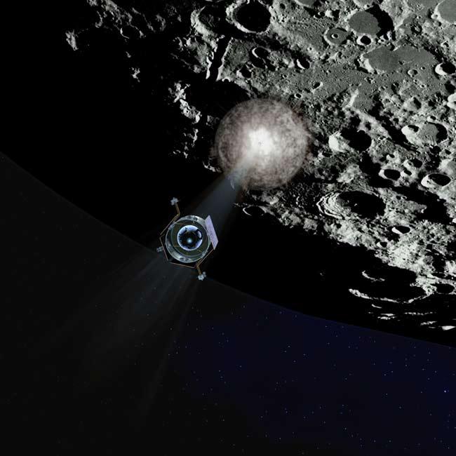 Concepção artística da sonda LCROSS que observa aqui o primeiro impacto do estágio superior do seu foguete, antes da própria colisão com o pólo Sul lunar. Crédito: NASA/LCROSS