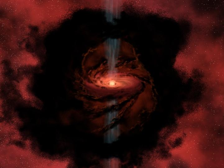 Concepção artística de um berçário estelar, à medida que uma estrela nasce a partir do gás e poeira girando na nuvem proto-estelar. Crédito: NASA/JPL-Caltech