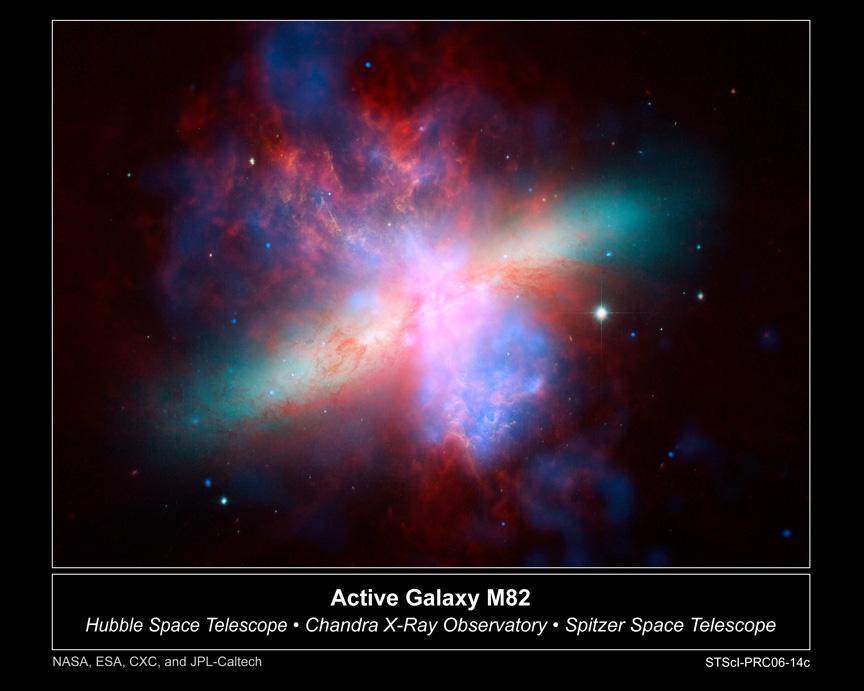 A imagem acima é uma composição em imagens a partir de múltiplos comprimentos de onda da galáxia ativa M82. Para formar este mosaico foram usadas fotos de três grandes observatórios espaciais: Hubble Space Telescope, Chandra X-Ray Observatory e Spitzer Space Telescope. A visão de raios-X do Chandra (cortesia de NASA/CXC/JHU/D.Strickland) aparece em tons de azul; a visão em infravermelho do Spitzer (cortesia da NASA/JPL-Caltech/C. Engelbracht (Universidade do Arizona)) está em vermelho; As visões do Hubble (cortesia da NASA, ESA, e The Hubble Heritage Team (STScI/AURA)) da emissão a partir do gás Hidrogênio aparecem em laranja e a luz visível aparece em amarelo esverdeado.