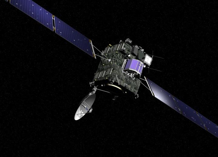 A sonda Rosetta da ESA foi lançada em 02 de março de 2004 para a missão de 11 anos de investigação do cometa 67P/Churyumov-Gerasimenko. A sonda carrega 11 instrumentos para analisar o núclo cometário e mapear sua superfície em detalhes. Além disso uma subsonda pousará (Philae Lander) no cometa para análisa-lo in situ. Esta missão arrojada irá fornecer pistas das características físicas e químicas dos processos que levaram a formação do sistema Solar há 4,6 bilhões de anos.  Créditos: ESA, imagem por AOES Medialab