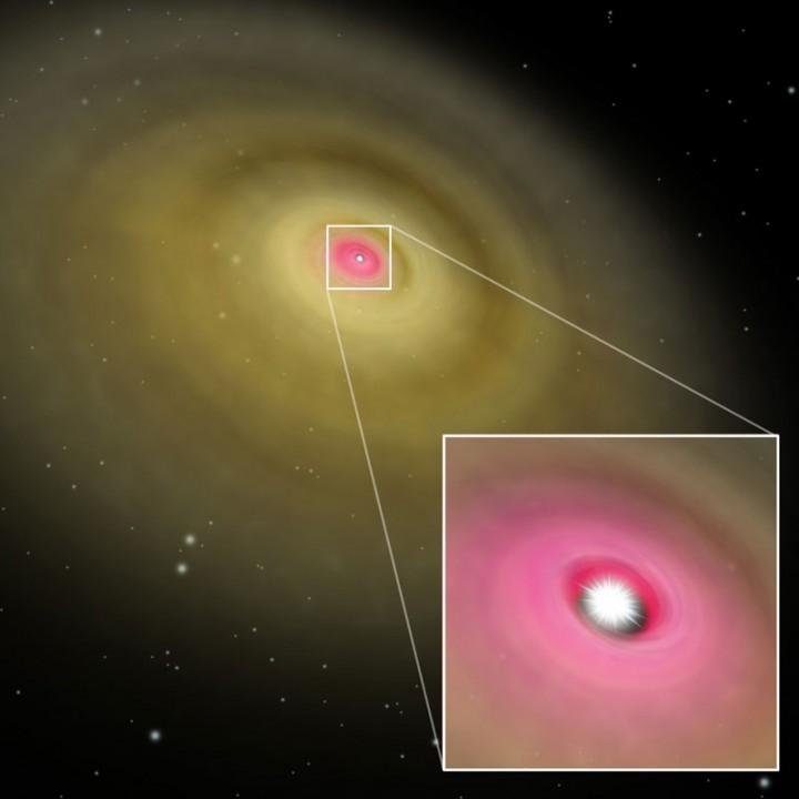 Ilustração do disco circumestelar em volta da estrela HD 141569A que foi mapeada pelo telescópio Subaro, Mauna Kea, Havaí.