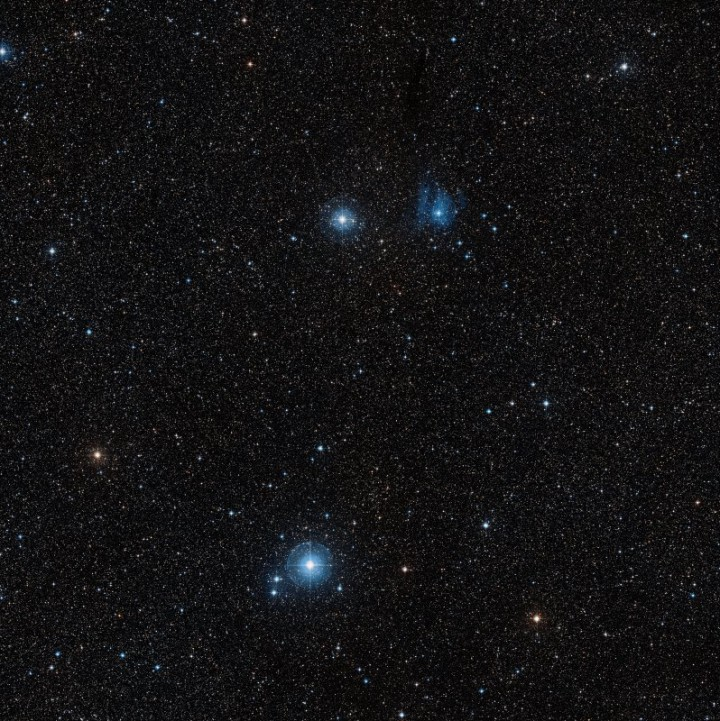 Imagem obtida na pesquisa Digitized Sky Survey 2, mostra um close região em volta da nova V445 Puppis.