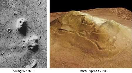 Cidônia, a face em Marte, mostrada pela Viking à esquerda e pela Mars Express, à direita