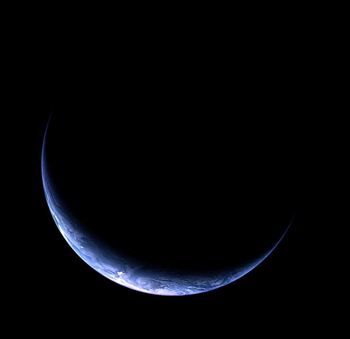 Imagem da Terra capturada pela camera OSIRIS da sonda Rosetta, a partir de uma distância de 633.000 km, 12 de novembro de 2009 em 13:28 CET.