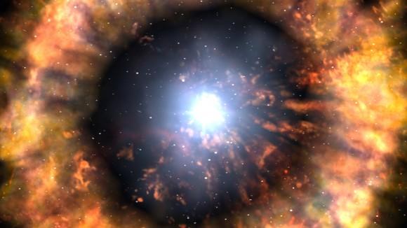 Explosão de uma supernova IIn a partir de uma hipergigante azul variável