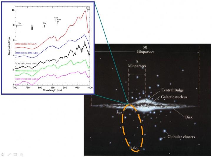À esquerda, comparação de ULAS1350 com as sub anãs de tipo L anteriormente conhecidas. À direta, concepção artística da trajetória e posição de ULAS1350 em nossa galáxia. Como se aprecia na figura, as sub anãs se encontram no halo da Via Láctea. Créditos: Nicolas Lodieu/GTC (OSIRIS).