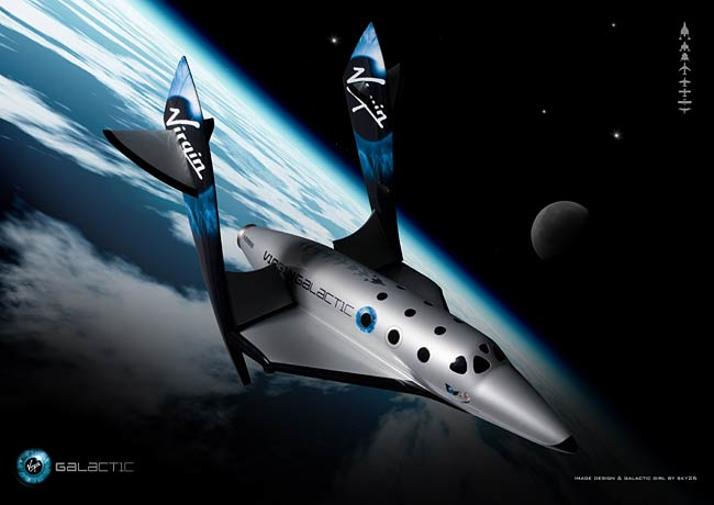 Impressão artística do vôo suborbital do SpaceShipTwo. Crédito: Virgin Galactic/sky26