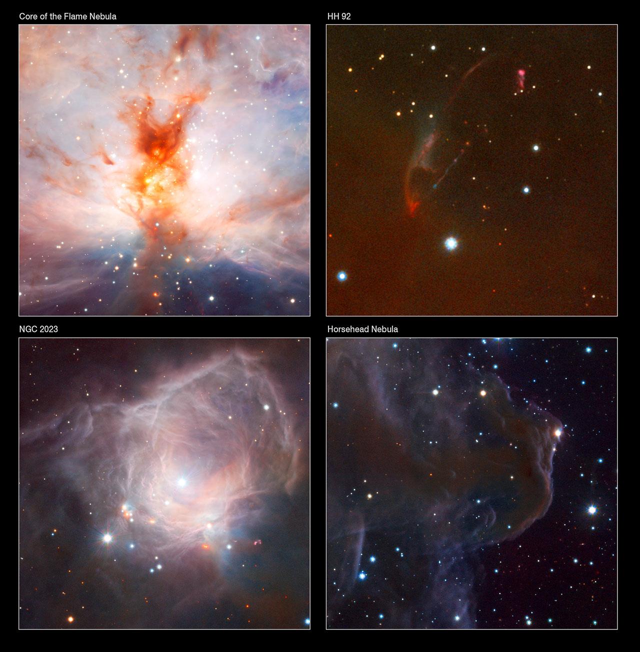 Mosaico de imagens do VISTA mostra a nebulasa da Flama (NGC 2024), o objeto Herbig Haro HH92, a nebulosa NGC 2023 e o objeto Barnard 33 - a nebulosa cabeça de cavalo. Crédito: ESO/J. Emerson/VISTA. Reconhecimento: Cambridge Astronomical Survey Unit