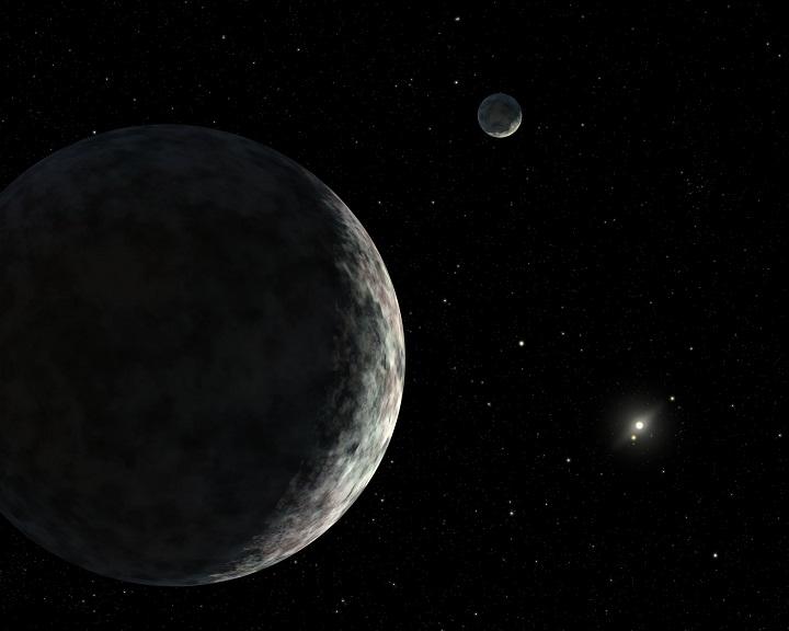 Éris e sua lua Dysnomia, à direita. Crédito R. Hurt/IPAC