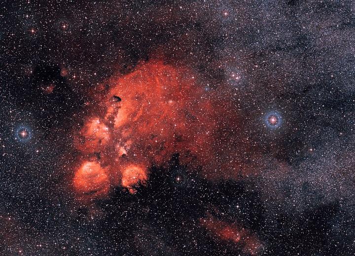 Visão da região em volta da Nebulosa da Pata do Gato (NGC 6334). Crédito: ESO/DSS2