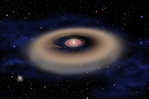 Nesta concepção artística de David Aguilar, vemos a formação de um exoplaneta do tamanho de Júpiter a partir de um disco de poeira e gás envolvendo uma estrela jovem e massiva. A intensa gravidade do exoplaneta criou um hiato no disco. Das 500 estrelas examinadas no berçário estelar W5, apenas 15 mostraram evidências da presença de hiatos nos seus discos de matéria que possivelmente foram provocados pela existência de exoplanetas massivos recém formados. Crédito: David A. Aguilar, CfA