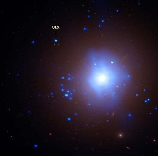 Imagem composta do que se conhece como fonte de raios-X ultra luminosa (ULX). Crédito: Raios-X - NASA/CXC/UA/J. Irwin et al. Óptico - NASA/STScI