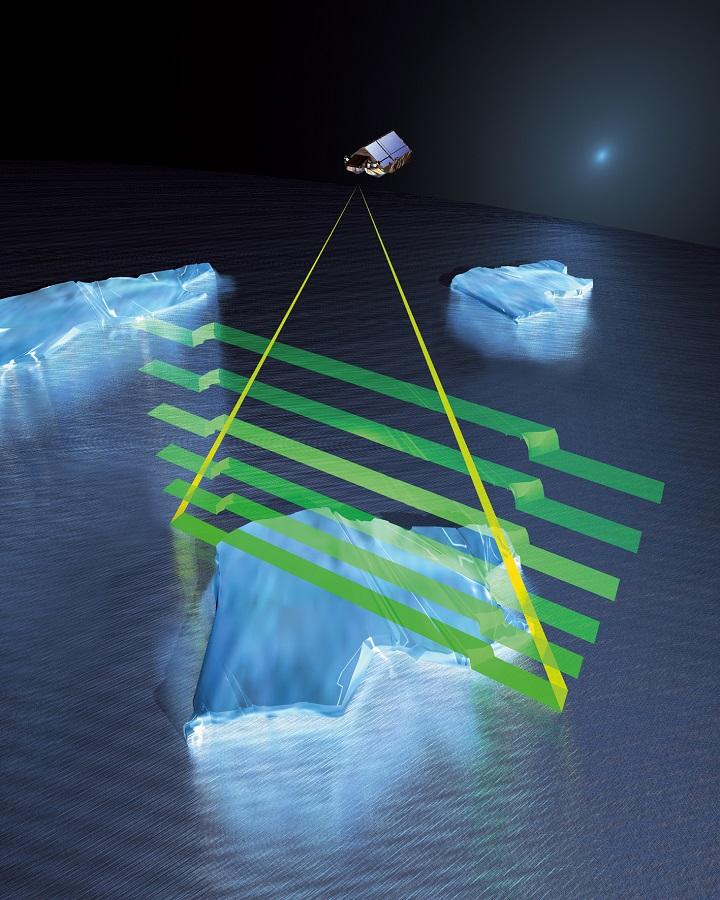 Usando um sofisticado altímetro por radar chamado SIRAL (Synthetic Aperture Radar Interferometric Radar Altimetry), a sonda orbital CryoSat-2 fará precisas medições da espessura das camadas de gelo da Terra, tanto no mar quanto sobre a superfície dos continentes. Créditos: ESA - AOES Medialab