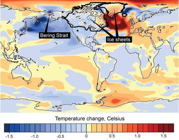 O efeito do fechamento do Estreito de Bering e o clima global. Crédito: Nature/UCAR