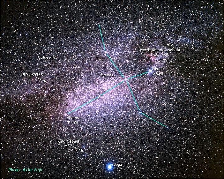 O sistema HD 189733 está localizado na constelação da Raposa (Vulpecula), ao lado de Cygnus (Cisne). Crédito: Akira Fujii