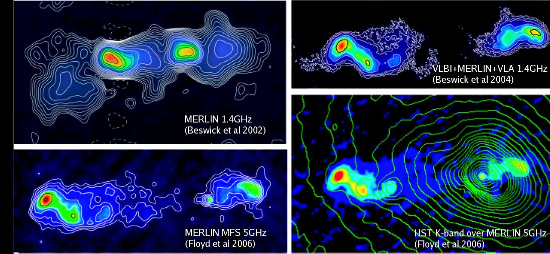 Radioastronomia: estas quatro imagens mostram os jatos da rádio galáxia 3C293. Crédito: MERLIN/VLBI