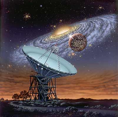 Imagem que simboliza o programa SETI de busca por civilizações extraterrestres. Crédito: Lynette Cook - http://extrasolar.spaceart.org